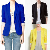 Women jacket candy color slim suit blazers elegance colorful one button style FOLDABLE SLEEVES casual coat al-buy3115