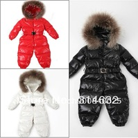2013 New style Baby 100% white duck down jumpsuit,Kids Siamese Down romper+ hat+ feet set,infant Romper climbing clothes 80-120
