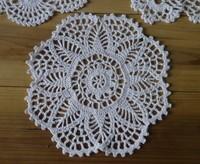 Handmade Crochet Doily placemat cup mat applique pineapple flowers 20x20cm Wedding decorations 20PCS/LOT Physical picture 100%