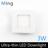 Ultra thin design 3W LED ceiling recessed grid downlight / square panel light 90mm, 4pc/lot free shipping