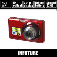"15.0 mega pixls optical zoom camera digital camera 2.7"" TFT LCD 5X optical zoom rechargeable battery DC-V600 free shipping"