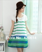 Free Shipping, Hot Sale, 2013 New Arrival Fashion Maternity Clothing, Chiffon Dresses For Pregnant Women, Plaid Casual Dress