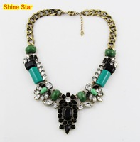 Brand Vintage Copper Green Stone Crystal Mix Chain Y Drop Pendant Statement bib Collar Choker Necklace Women Jewelry Item,AF949