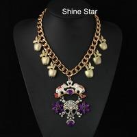 Brand Chunky Gold Chain Apple Full Crystal Skull Enamel Elephant Pendant Statement bib Collar Choker Necklace Women Jewelry F955