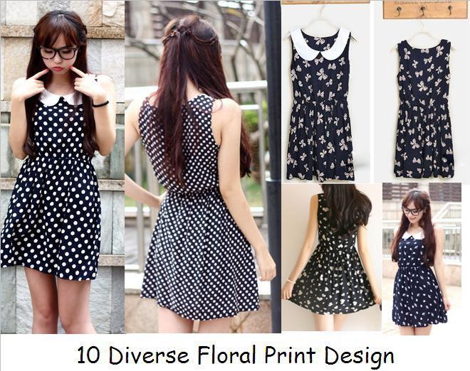 Free Shipping Sale Fashion School Girl Preppy Style Summer Sleeveless Dress Cute Polka Dot