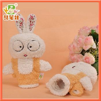 2014 Cute plush rabbit mittens plush soft fingerless gloves plush rabbit soft