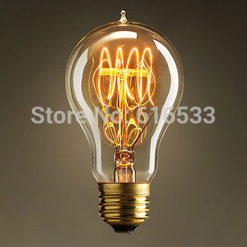 New 2014 Antique Vintage World Edison Incandescent Filament Tungsten Silk Light Bulb 40W 220V/110V E27 A19  Home Deco wholesale