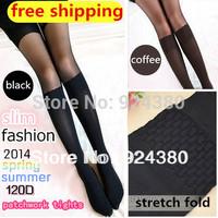 2014 colored seamless contrast tone patchwork velvet girl nylon pantyhose mock stockings 2pcs/lot