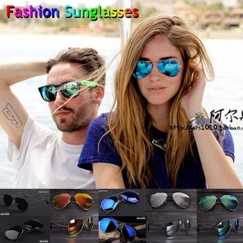 12 Colors Free Shipping 2014 Sale Brand Designer Blue Mirrored Sunglasses Men Silver Mirror Vintage Sunglasses Women Glasses Hot