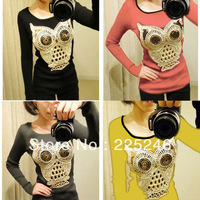 Drop Shipping Retro Womens Knitwear Long Sleeve Sequins the Sweater owl Print Pullover Jumper CY0472 Free shipping