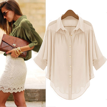 Free shipping 2014 New Fashion women's Chiffon Top Blouse Hight Quality Three Coors Black Olive Beige retail and Wholesale#10467
