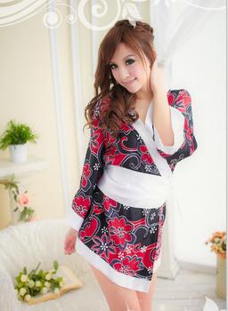 Free Shipping Women Black Flower Kimono Costumes Sexy Japanese Adult Kimono