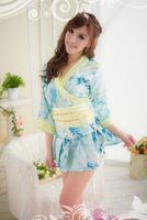 Free Shipping Pretty Print Sexy Lingerie Kimono Set,Women Sexy Kimono(Blouse+Skirt+Belt)(Random Print Style)