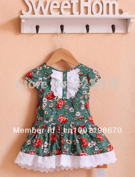 Free shipping New Brand Green summer girl clothing beautiful Princess dress kids Bohemian girl dress for 2-5 years size #80~120