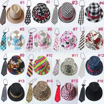 Unisex casual fedora trilby hat with necktie Boys girls fedoras with neck tie set Children top hat Jazz cap 10set BH231