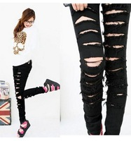 2013 New Hot Sale Classical Vintage Detailed Cotton Denim Ripped Punk Cut Woman Sexy Ripped Jeans S-M-L Free shipping