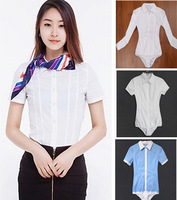 Free Shipping New Fashion Basic OL conjoined blouses shirts Joint Body short Long sleeve women rompers shirt Top Blouses SMLXL