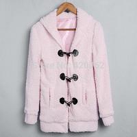 New Winter S-XL 2014 New Women Casual Cute Bunny Ears Sherpa Warm Thicken Outerwear Hoodie Coat Jacket 2 Colors
