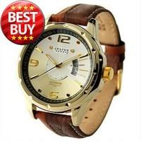 Julius Men''s Brand Fashion & Casual Analog Quartz Dress Calendar Mix Match Double Genuine Leather Strap Watch (Brown)