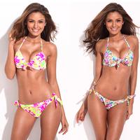 2013 Sexy Bikini Swimwear Jungle Pattern Push-Up Halter Top & Side-tie Bikini Brazilian Women's Swimsuit 3/4 Cup
