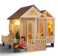 New Dollhouse Wooden Toys Big Fairy Houses Sweet Dating Dream Princess Room Music Box Valentine Day Gift For Lovers
