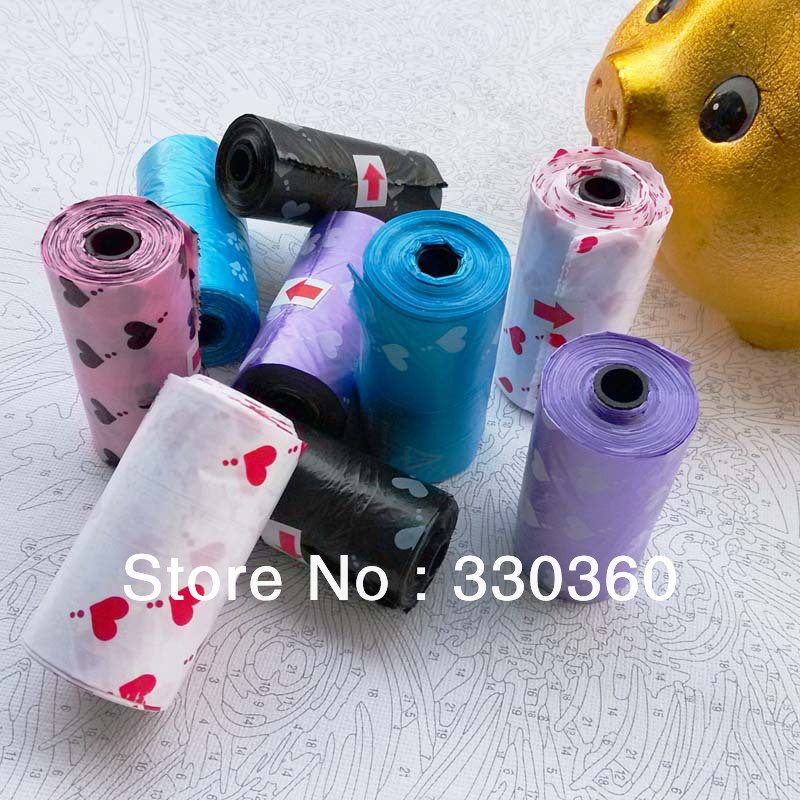 Free Shipping Pet Waste Bags Biodegradable Waste Pooper Scoopers Bags Pet Carriers Bags Pink 20 roll Wholesale(DG-1306)(China (Mainland))