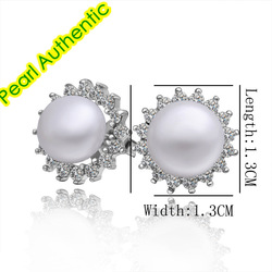 Hot Promotion Genuine 10mm Elegant Fresh Water Pearl Stud earrings 18K RGP With Zircons Around For Gift Wholesale Sale Item(China (Mainland))