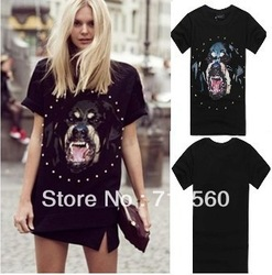 NEW!Hot!Sexy! Chic Dog head Rottweil black Print shirt Women Summer T shirt MEN fashion Tops Rhinestone Short Sleeve tshirt GIV(China (Mainland))