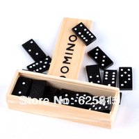 Free Shipping 28 Piece Dominoes Game Play Set In Wooden Box-Fun Board Game Party Toy Travel 40-847
