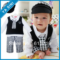 Baby suit School style baby suit/Four sets:Cap+vest+long sleeves top+plaid long pant/Popular style Baby clothing set