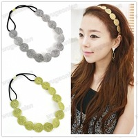 Hot  Stylish Women's Gold/Silver Hook Flower Wafer  elastic Hair Band Headband Free Shipping 1pcs/lot