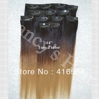12inch Full Head Remy Clip in Human Hair Extensions silky straight Hair 7PCS /Set Free Shipping 2 tone color hair