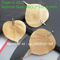 L01G Fashion 24K Gold natural Leaf Pendant Necklace jewelry  free shipping 2013 Christmas present