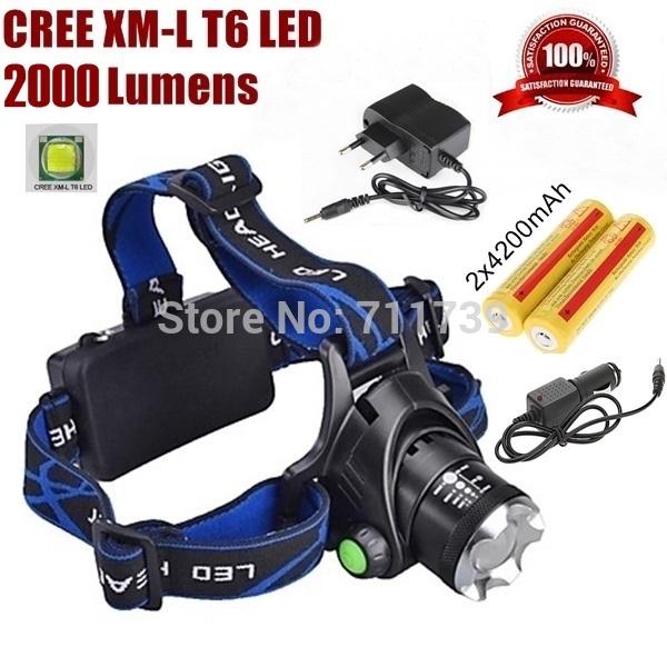 AloneFire HP79 cree led Headlight Cree XM-L T6 LED 1600LM cree led Headlamp light+AC Charger/Car charger/2x18650 4200mAh battery(China (Mainland))