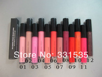 3pcs/lot high quality brand makeup  lipgloss liquid lip gloss pink gloss 1.92G Moisture lip gloss 12 color free shipping