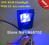 2pcs/lot 10W rgb led Infrared remote control floodlight 24-key wireless remote control 16 Color landscape lighting