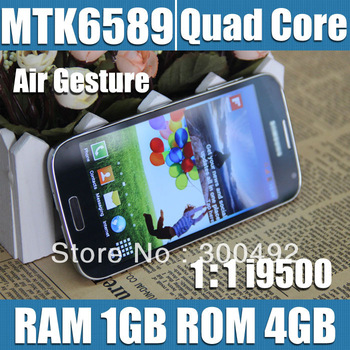 quad core i9500 1:1 s4 phone original logo with flip case mtk6589 1gb ram single sim card,(white,black)
