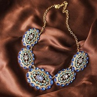2013 fashion  accessories JC Luxury Jewelry Blue Crystal Bling Bohemian Choker Statement Necklace Costume Drama OEM wholesale