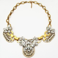 retro vintage gold filled shiny crystal chunky statement choker collar necklace for women jewelry 2013 hot sale