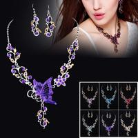 New  Design  Enamel Rhinestone Butterfly  Tassel  Choker  Necklace Earring  Set  White Gold Plated  Bridesmaid  Wedding  Jewerly