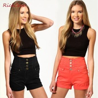 New 2013 Shorts Women High Elasticity Cotton Double-Waist Turned-up Hem High Waist Autumn -Summer Short Free Shipping D034