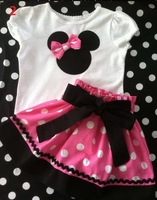 2013 Summer New children baby girls clothing set minnie mouse short sleeve t shirt+ polka dot shorts or skirt 2pcs sets GQT-213