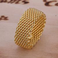 Free Shipping 925 Sterling Silver Ring Fine Fashion Golden Net Ring Women&Men Gift Silver Jewelry Finger Rings SMTR064
