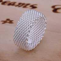 Free Shipping 925 Sterling Silver Ring Fine Fashion Net Ring Women&Men Gift Silver Jewelry Finger Rings SMTR040