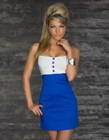New Soft Sexy Lady Women Lace Slip Summer Dress Fashion Button Color Blocking Black/Blue/Pink  Plus size Girl Dresses 8916