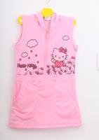 5Pcs/Lot Baby & Kids Summer Dress Girl Hello Kitty Sleeveless Dress Girls Casual Pink Dress