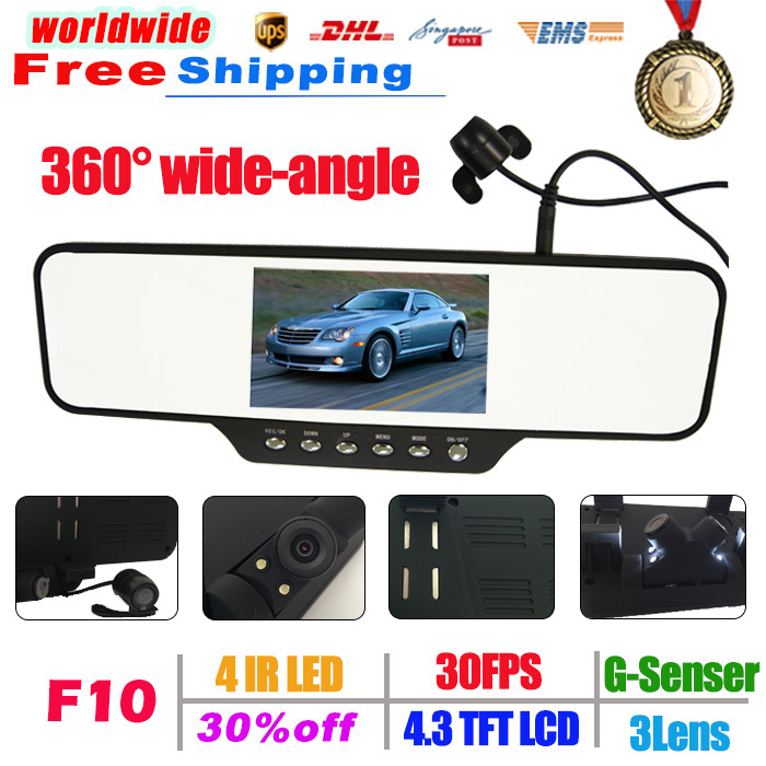 New Car Video Mirror F10 360 degrees rear car camera 1080P HD Black Box H.264 Video Recorder go pro full hd 1080P Free Shipping(China (Mainland))