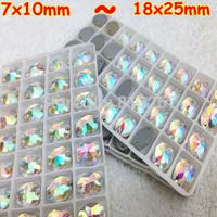 Oval Sew on Crystal AB 7x10mm,10x14mm,11x16mm,13x18mm,17x24mm,18x25mm FlatBack Silver Base Fancy Sewing Rhinestone Button Beads