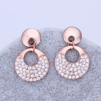 Wholesale Fashion Jewelry 18K Rose Gold Plating Round Earring High Quality Crystal Tibetan Ethnic Wedding Earrings 18KGP E302