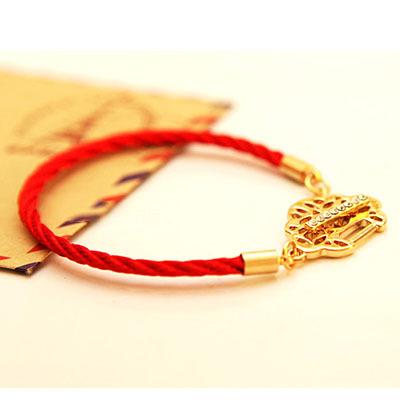 6pcs/lot HOT Longevity Lock Lucky Red Rope Bracelet 18K Rose Gold Austrian Crystal Diamond lab Bijouterie Genuine Jewelry Women(China (Mainland))